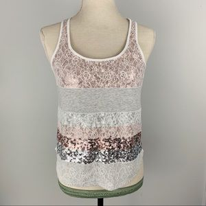 Express Sequin Striped Tank Top